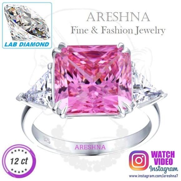 Areshna Jewelry - 12ct Lab Diamond Pink Engagement Ring